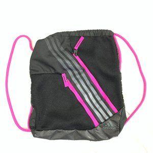 Adidas Drawstring Backpack Gym Bag Zip Pockets